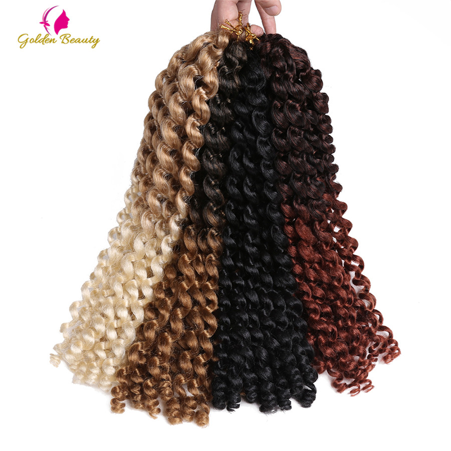 Golden Beauty 14inch Jumpy Wand Curl Twist Crochet Braids Jamaican Bounce African Synthetic Braiding Hair 20 Strands/pack