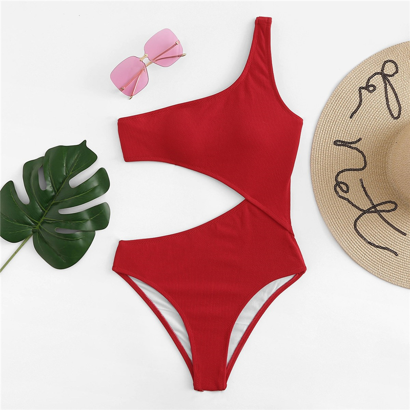 Red One Shoulder Cutout One-Piece Swimsuit 5