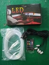 New Sound Active EL Neon Strip Light RGB LED Car Interior Multicolor remote Control Atmosphere 12V 6M