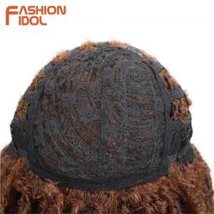 Image 5 - FASHION IDOL 22 Inch Synthetic Wigs For Black Women Crochet Braids Twist Jumbo Dread Faux Locs Hairstyle Long Afro Brown Hair