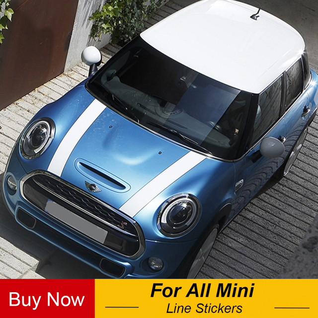 US $14 99 40% OFF|Car Hood Engine Rally Line Stickers And Decals Car  Styling For Mini Cooper S JCW One F54 F55 F56 F60 R55 R56 R60 R61 R50 R52  R53-in