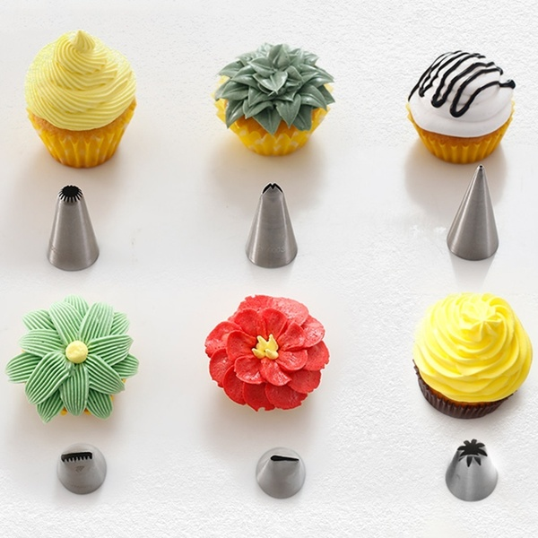 Other Baking Accessories 6pcs Stainless Steel Pastry Tubes Set Cookies Decorating Tools Flower Design Kitchen, Dining & Bar