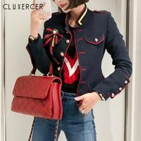 Women Jackets Spring Autumn Coat 2019 New High Quality Navy Elegant Vintage Standing Collar Long Sleeve Slim Jacket