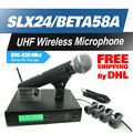 Free Shipping by DHL FEDEX to US EUR! Professional UHF Wireless Microphone SLX24/BETA58 SLX Cordless 58A Handheld Karaoke System