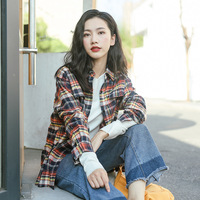 Camisas Femininas Manga Longa 2017 Fall Women S Plaid Shirt Single Breasted Burr Cardigan Fake Pocket