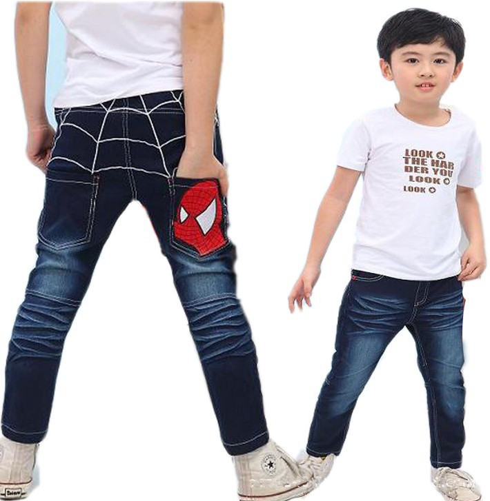 Bambini Dei Jeans Dei Ragazzi Del Cotone Casual Abbigliamento Dei Bambini Lungo Di Lunghezza Blu Del Denim Dei Pantaloni Di Abbigliamento Per Bambini Primavera Grandi Ragazzi Spiderman Jeans
