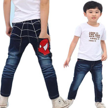 Kids 진 Boys 면 Casual Children Clothing 긴 길이 Blue Denim Pants Kids 옷 봄 큰 Boys Spiderman Jeans(China)