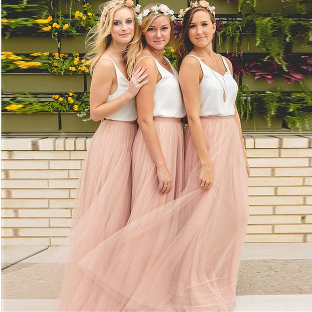 3 Layers Soft Tulle Bridesmaid Skirt Custom Made Cheap Pink Maxi Long Skirt Wedding Skirt Tutu 56 Colors Available Plus Size