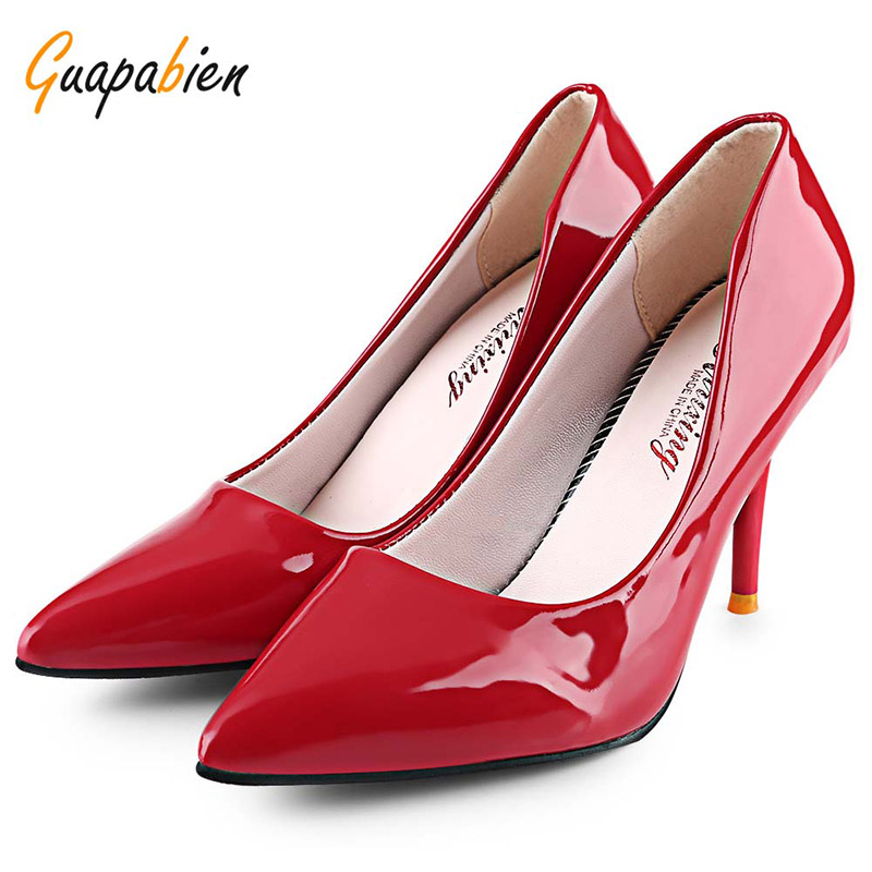 Guapabien 2017 Black OL Pointed Toe High Heels Shoes 10 Candy Color PU Leather Soft Thin Heel Pumps New Women Work Party Shoes guapabien new sexy pointed toe red bottom high thin heels wedding shoes ladies brand women pumps shoes high heels ol dress pumps