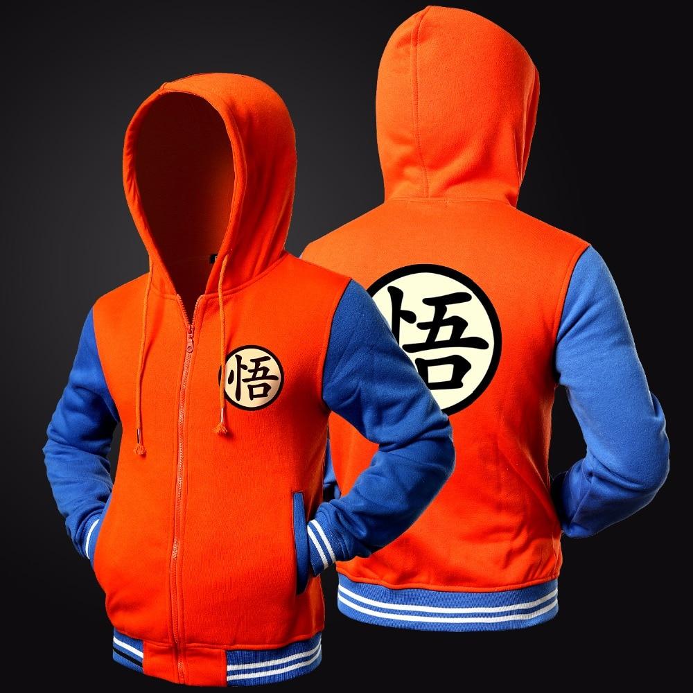Trend New Japanese Anime Dragon Ball Goku Varsity Hooded Jacket 2018 Spring Casual Zipper Hoodie Coat Sweatshirt Jacket