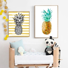 Watercolor Low Poly Pineapple Wall Pictures Home Kitchen Decoration , Tropical Fruit Art Prints Poster Decor