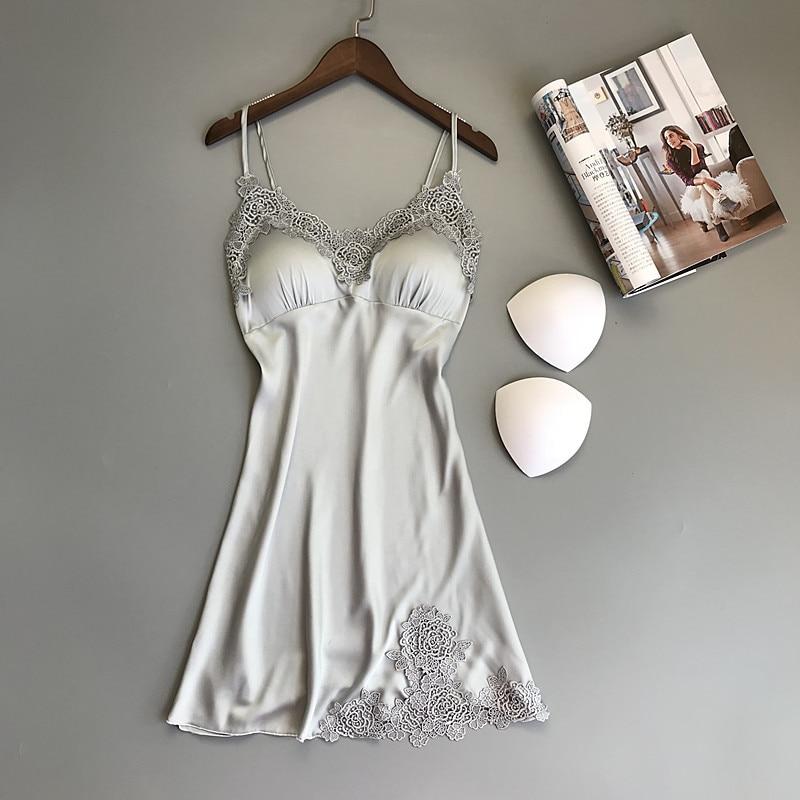 ZOOLIM Women Nightgowns Silk Spaghetti Strap Night Shirts Sleeping Shirt with Chest Pads Satin Sleepwear Nightgowns Sleepshirts
