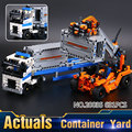 LEPIN 20035 631 Unids Serie Técnica Los Camiones de Contenedores y Cargador Conjunto de Bloques de Construcción Ladrillos niño regalo Juguetes Educativos 42062