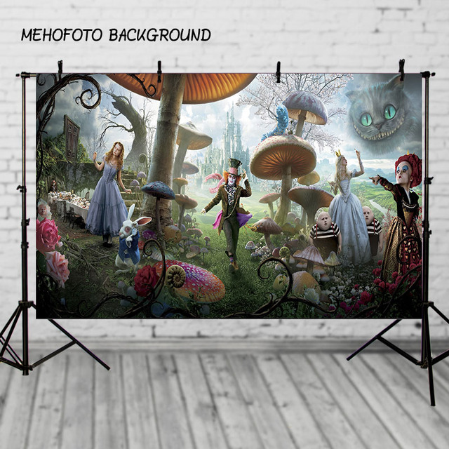 Photography Backdrop Alice in wonderland castle carpet mushrooms Birthday Party Children background photography studio Custom