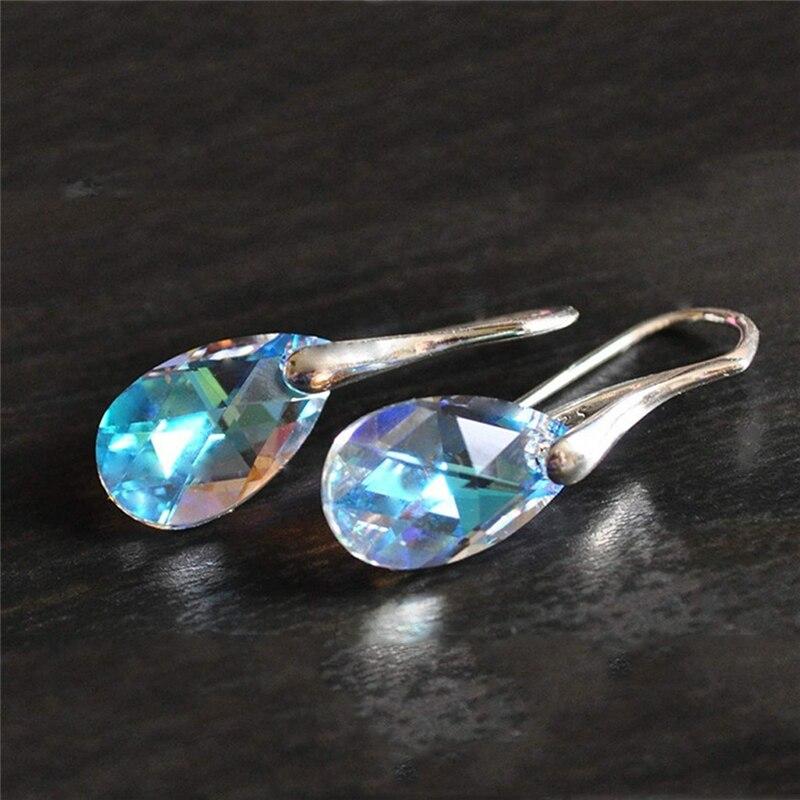 Women Bohemia Earring Silver Hook Hanging Dangle Earrings Colorful Crystal Opal Long Drop Earrings in Drop Earrings from Jewelry Accessories