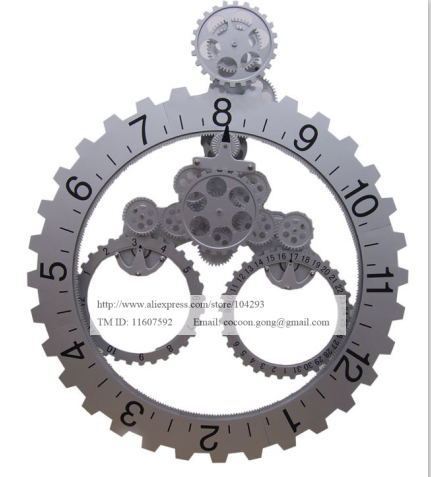 retro modern mechanical gear wall clock with calendar big