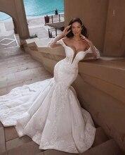 Luxo sereia rendas manga longa vestido de casamento 2019 praia sexy mergulho pescoço lantejoulas longo trem vestidos de noiva robe de mariage