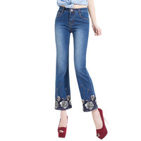 New Women Embroidered Jeans Mid Waist Elastic Slim Blue Beading Flares Bell Bottom Jeans