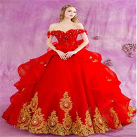 Amazing Elegant Ball Bridal Gown Bridal Gown V Neck Appliques Lace Red Women Wedding Dresses+FREE Accesorios
