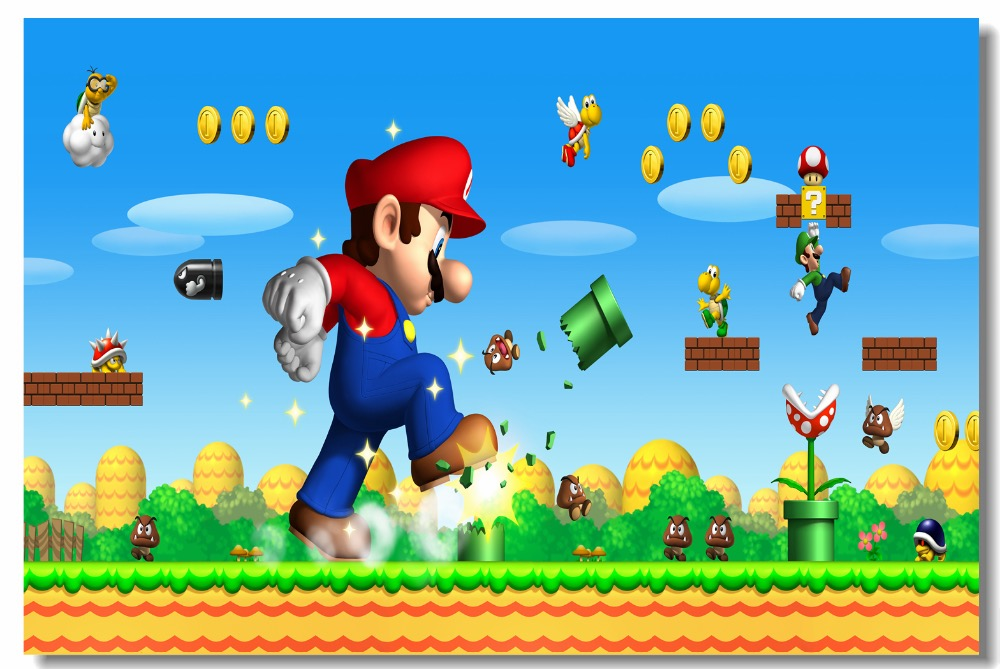 US $5.99 25% OFF|Custom Canvas Wall Mural Mega Super Mario Bros Wallpaper  Super Mario Bedroom Decor Video Game Poster Luigi Wall Stickers #0469#-in  ...