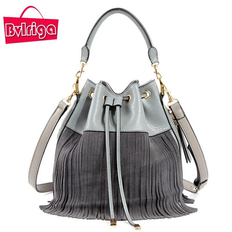 ФОТО BVLRIGA Genuine Leather Bag Small Bucket Women Tote Bag Tassels Women Messenger Bags Famous Brand Designer Handbags High Quality