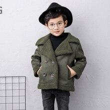 Кашемировое пальто для маленьких девочек; коллекция года; модная зимняя куртка с отложным воротником для девочек; костюм; хлопковая одежда для детей; 7jk027