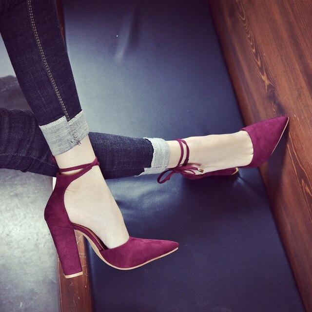 2018 spring new women shoes basic style retro fashion high heels 2
