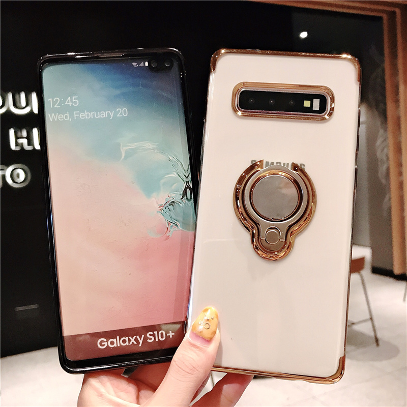 Finger Ring Case For Samsung S8 S9 S10 plus Note9 10 <font><b>s105G</b></font> Soft Silicone Magnetic Cover For Samsung Note 10 pro Note10 Cases image