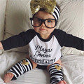 4 Pcs Baby Boys Girls Clothing Set Long Sleeve Letter T-shirt + Briefs + Striped Leg Warmer + Shining Headband Newborn Clothes