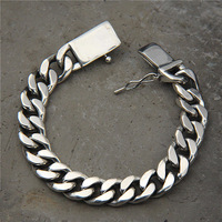Vintage S925 Whip Chain Rock Punk Bracelet Male Sterling Silver Domineering Fashion European And American Personality