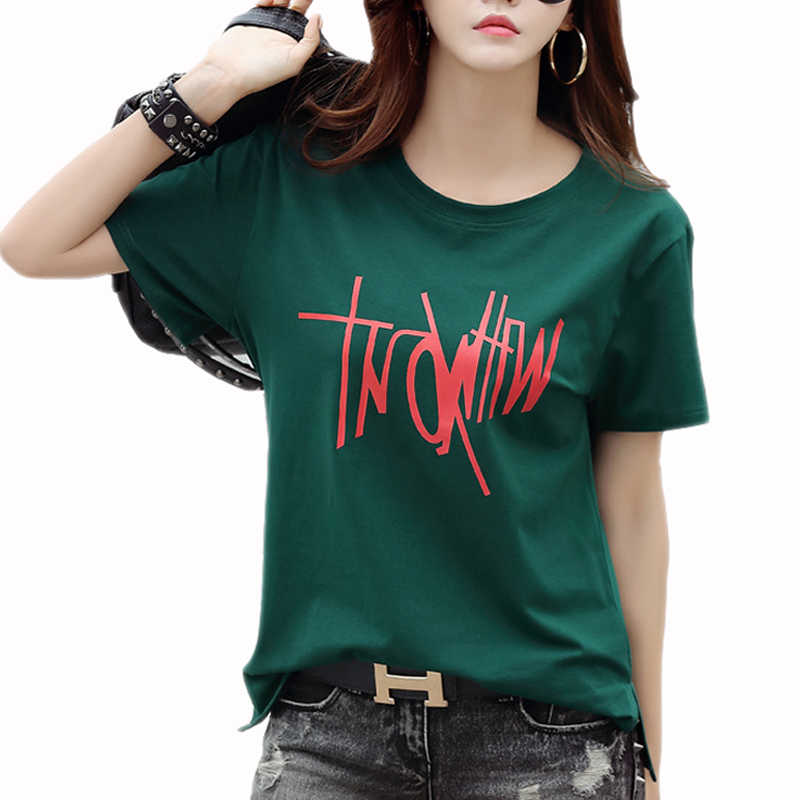 Zomer Tops Vrouwen Brief gedrukt T-shirt camisetas mujer Fashion Dames O-hals Korte Mouw tops Wit t-shirt NS8944