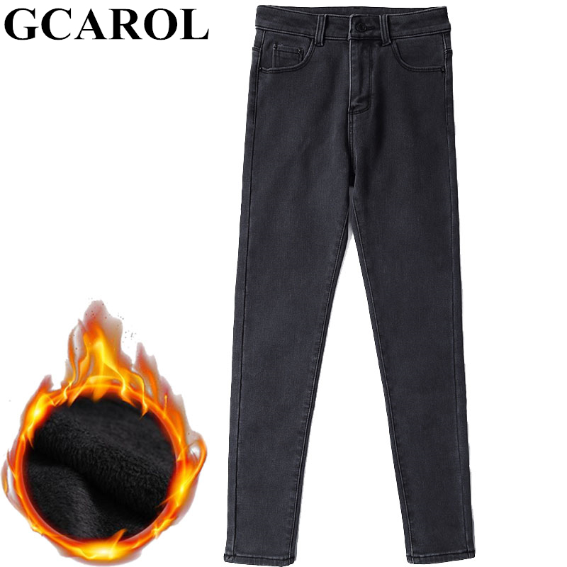 GCAROL New Women High Waisted Denim   Jeans   Fleece Lining Thick Fall Winter Pants Stretch Slim Basic Pencil Pants In 2 Colors
