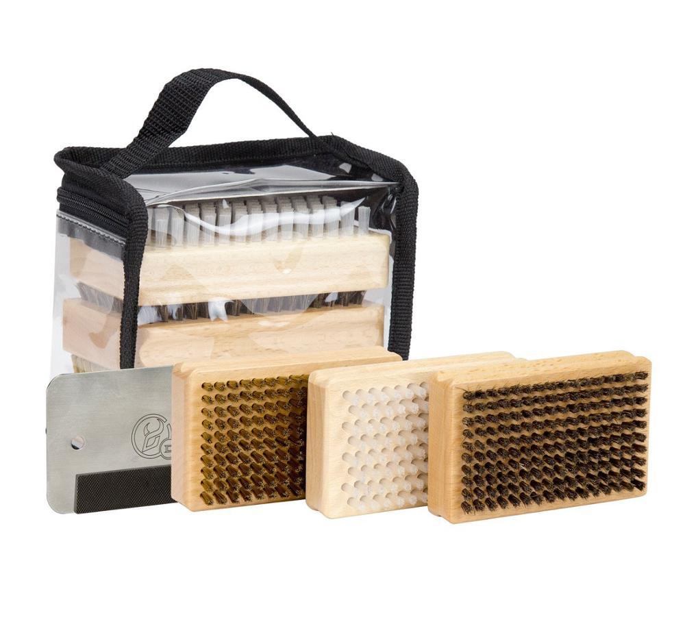 Ski Snowboard Wax Brush Kit -Plus Includes Nylon / Brass / Horsehair Brush Metal Scraper And Edge File With A PVC Bag