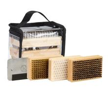 Ski Snowboard Wax Brush Kit -Plus includes Nylon brush Brass Brush Horsehair Brush Metal Scraper and Edge File With a PVC bag
