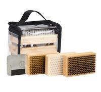 Ski Snowboard Wax Brush Kit Plus includes Nylon / Brass / Horsehair Brush Metal Scraper and Edge File With a PVC bag