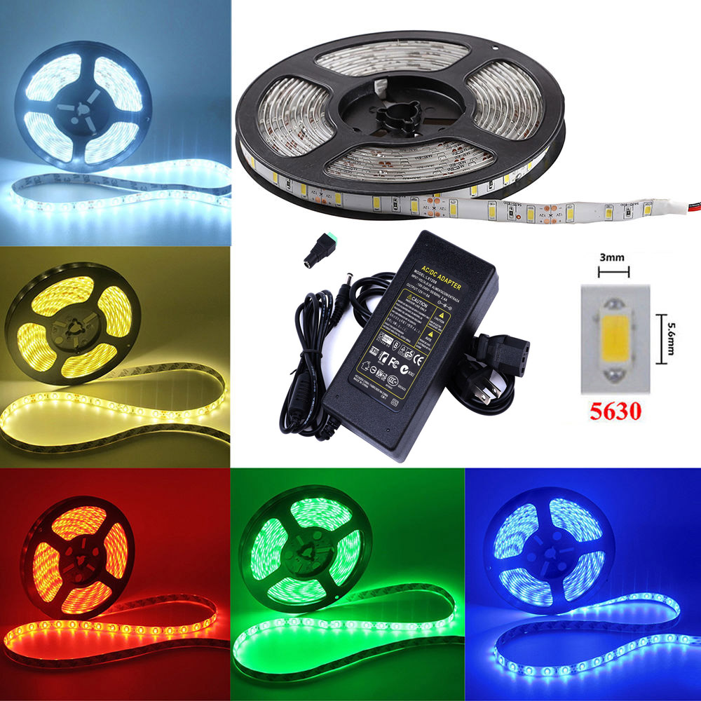 LED Flexible Light Strip 5630 SMD 300 LEDs 5M White Green Blue Waterproof Decorative Lamp Strip + Power Adapter 110V To 12V 8A led flexible light strip 5630 smd 300 leds 5m white green blue waterproof decorative lamp strip power adapter 110v to 12v 8a