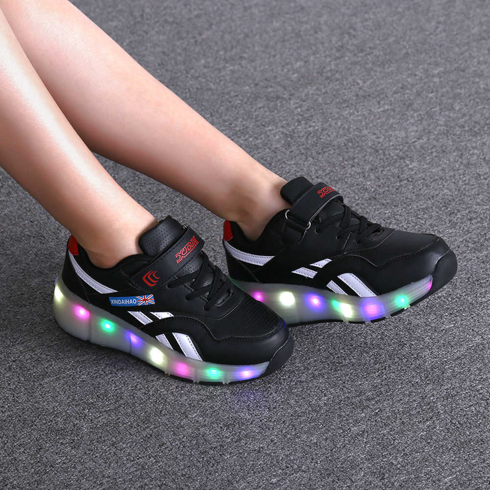 Heelies USB Charging LED Light Sneakers with One Single Wheel Boy Girl Roller Skate Casual Shoe with Roller