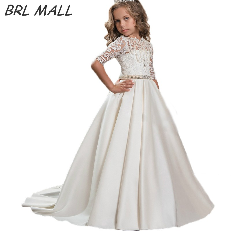 Beautiful Lace Appliques Lace up   Flower     Girl     Dress   with Half sleeves Pearls Beaded Crystal first communion   dresses   for   girls