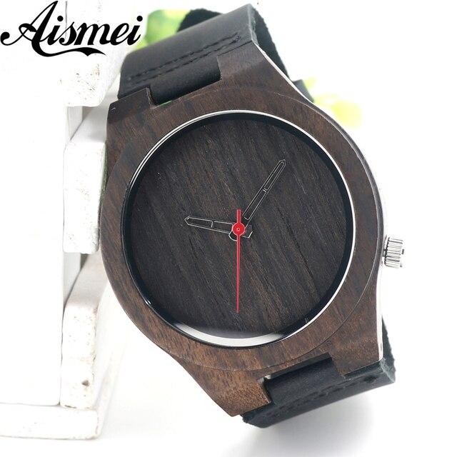 Zegarek męski drewniany skórzana opaska Red Point