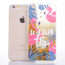Flamingo iphone için kılıf 7 Sert PC Dinamik Quicksand Pullu iphone 7 artı 8 artı 6 6 splus Kapak Telefon coque iphone 7 8 mermer(China)