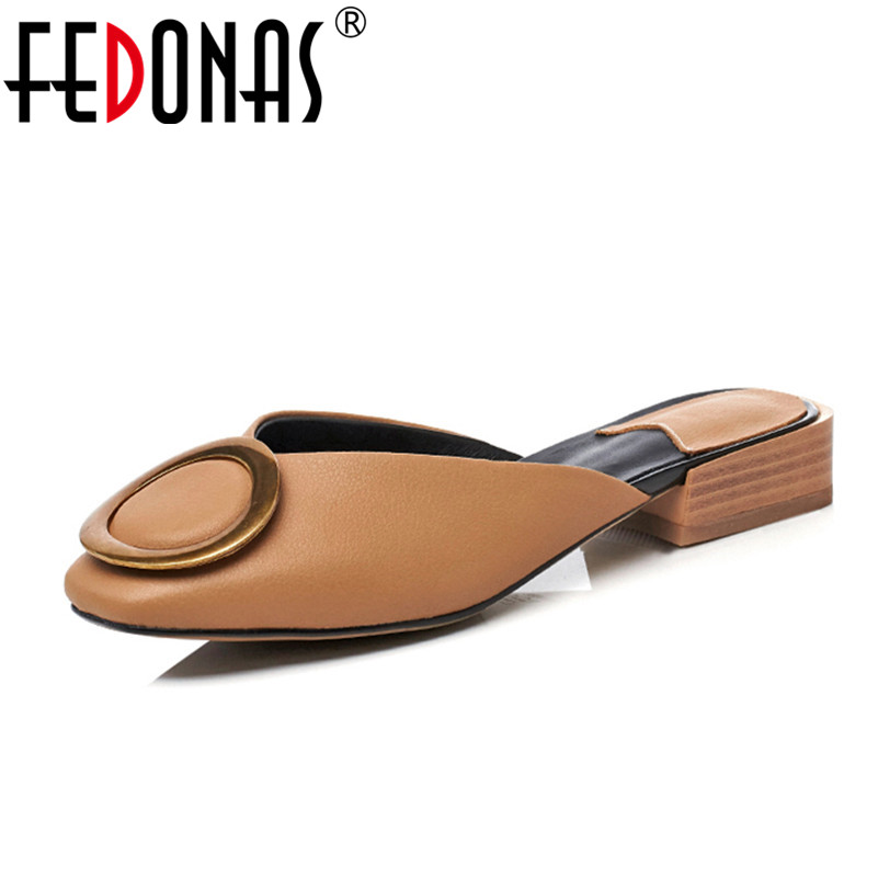 FEDONAS New Fashion Women Soft Genuine Leather Shoes Woman Low Heels Comfort Casual Shoes Women's Slippers Female Summer Sandals fedonas brand women summer gladiator low heeled sandals fashion comfort slippers genuine leather elegant shoes woman sandals