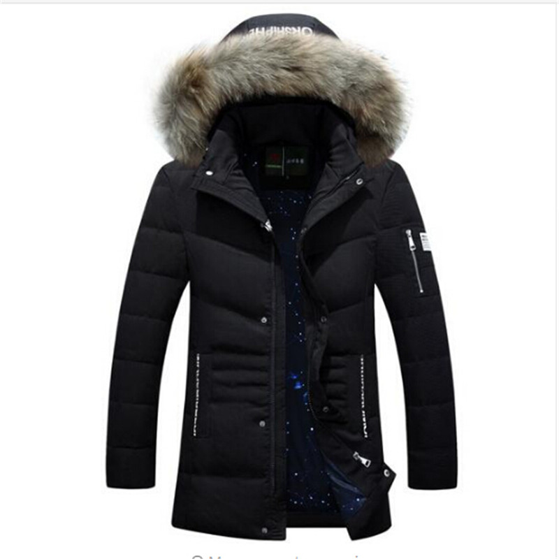 Degree Warm Long Park AFS JEEP Original Brand Duck Down Coat Homme Big Fur Hood Thick Slim Fit Winter Jacket For Men