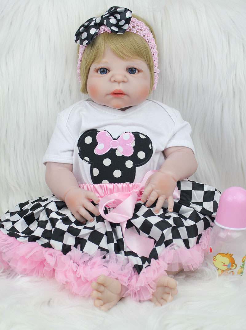 55cm Full Silicone Reborn Baby Like Real Doll Toys 22inch Newborn Princess Girl Toddler Babies Dolls Birthday Xmas Gift Present 55cm full silicone body reborn baby doll toys like real 22inch newborn boy babies toddler dolls birthday present girls bathe toy