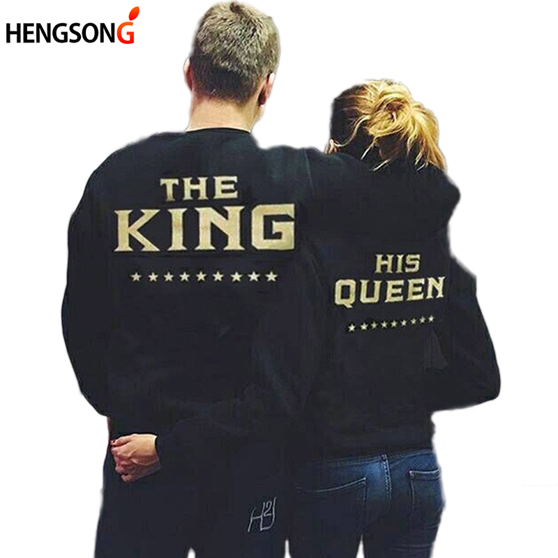 Women Pullovers Couple Hoodies King Queen Letter Printed Fashion Casual Lover Sweatshirt Woman Girlfriend His And Her Clothing