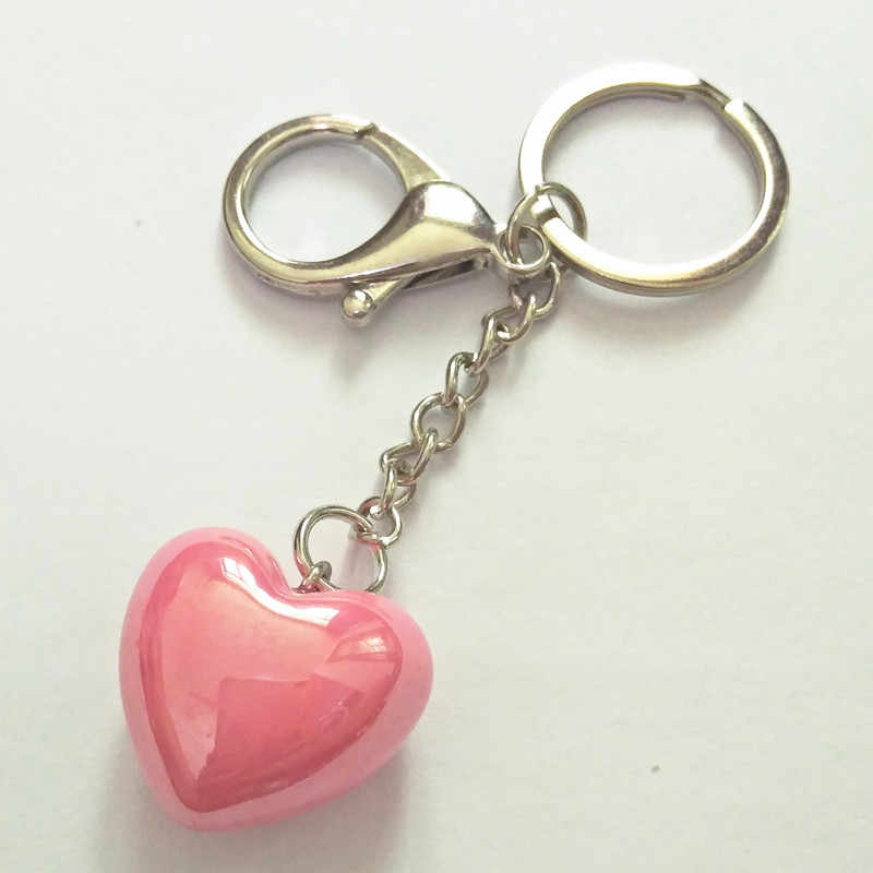 Lover Ranmantic Heart  Stone Pendant Keychain Keyring Charm Bag Auto Pendant Gift Wholesale Price Gril Boy Friend Gifts