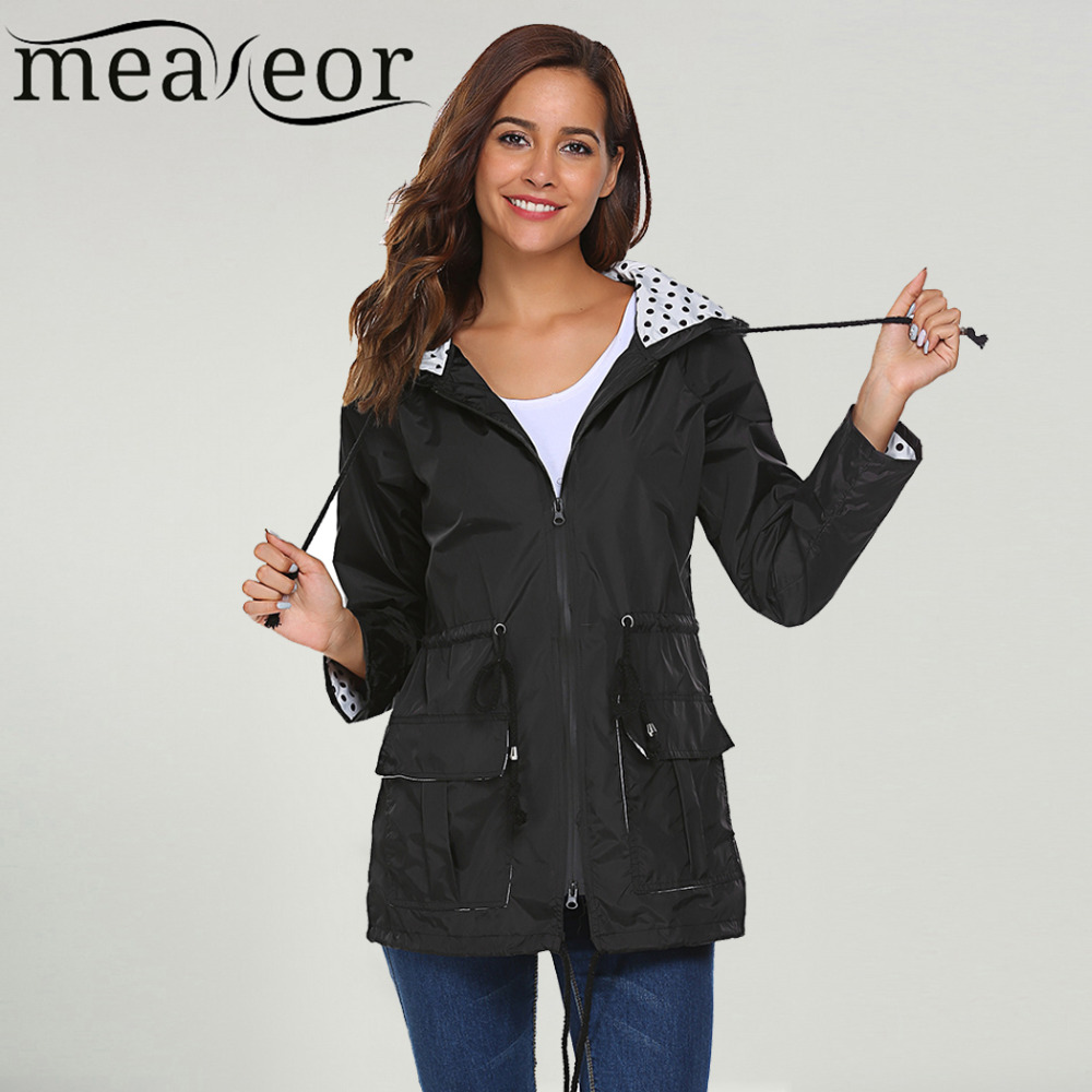 Meaneor Women Lightweight Jacket Hooded 2018 Autumn Long Sleeve Drawstring Rain Raincoat Dots Print Fashion Women Jacket Coat