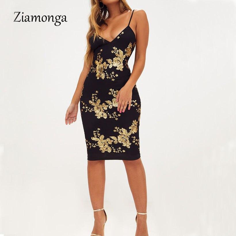 e44bc6e0b32b Ziamonga Evening Sexy Black Gold Sequin Dress Women Party Vestidos  Streetwear Christmas Dress Luxury Nightclub Dresses Clothes