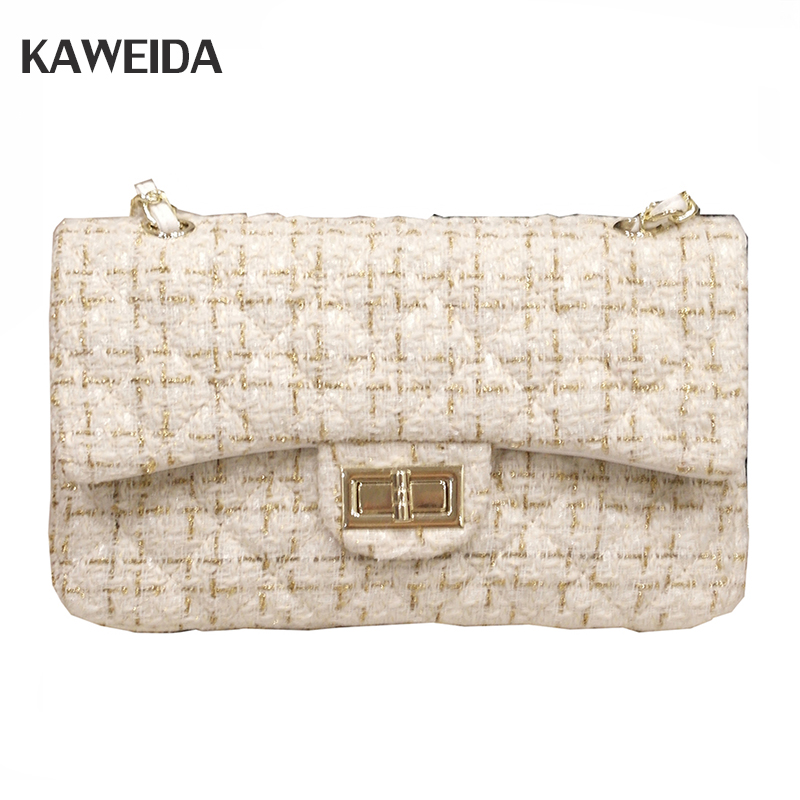 Famous Brand Plaid Women Messenger Bag Handbag Turn the lock Ladies Luxury Handbag Woolen Chain Quilted Shoulder Bags quilted heart omnibus the