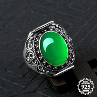 10*14mm NOT FAKE S925 Sterling Silver Australia Emerald Rings Jade moldevite upper class lithuania Retro Chalcedony