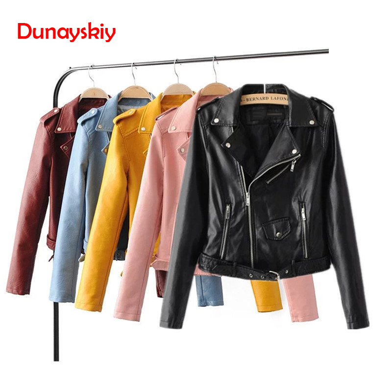 Dunayskiy Women Autumn Winter Clothes Leather Jackets Soft Pu Faux Leather Coat Slim Short Design Streetwear Plus Size Outerwear